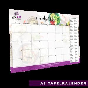 2020 Tafelkalender met Die 28 Dae Eetplan Spyskaart – A3 grootte – Een maand per blad